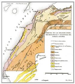 Carta geológica y tectónica del Sahara Occidental, de mediados del siglo XIX